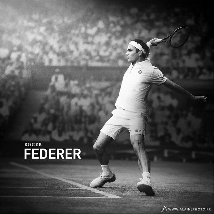 Roger Federer - Après retouche noir et blanc