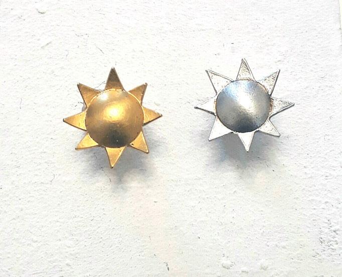 Eva Tesarik - Sonnenohrstecker - Silber, Silber vergoldet
