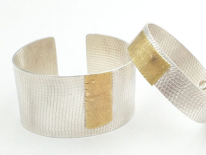 "Heike Wanner - Armreifen ""Simply Elegant"" - Silber, 18kt Gelbgold"