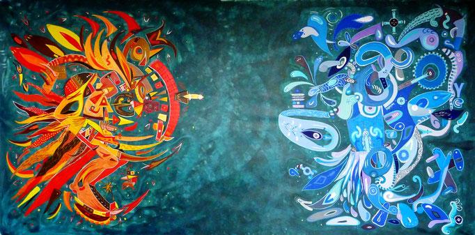 Sol y Luna IV 321x160 cm, acrylique sur toile, 08/2014.