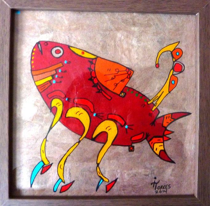 Alebrije Guachinango-Scorpion 20x20 cm, acrylique sur amate 2014 (Collection particulière Pau)