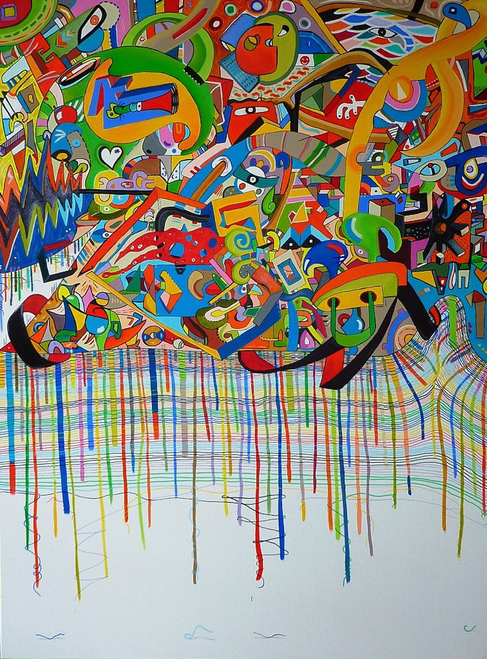 """"""" ilinx """" (Le vertige et l'appétence des couleurs) (El vértigo y el apeptito de los colores) 97x130 cm Acrylique et huile sur lin (Collection Privée, Bordeaux)"""