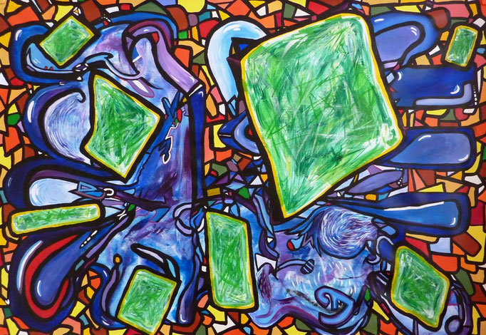 Glas+Melen+Gwer  (Bleu+jaune+vert, en breton) (Azul+Amarillo+Verde, en lengua bretona) 150 x 100 cm, acrylique sur toile.