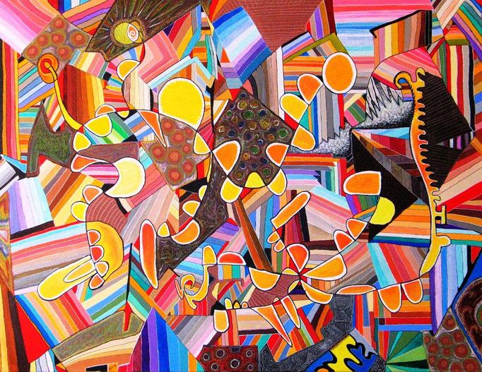 KAIROS-ACOALLANTLI (El instante preciso es la Paz / L'instant précis c'est la paix) 54x74 cm, acrylique et pastel sur lin, 2009.