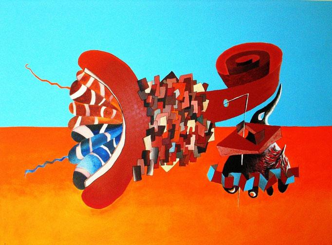 Nema (Paso a paso / Pas à pas en lengua Náhuatl) 97x130 cm, 2010, acrylique et huile sur lin.