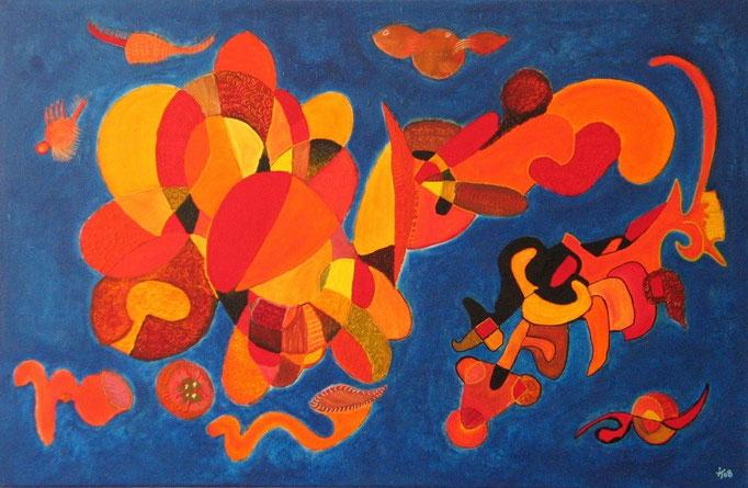 Tejido de Cempasúchil, 92x60 cm, 2009, acrylique sur toile. (Collection Privée, Toulouse)
