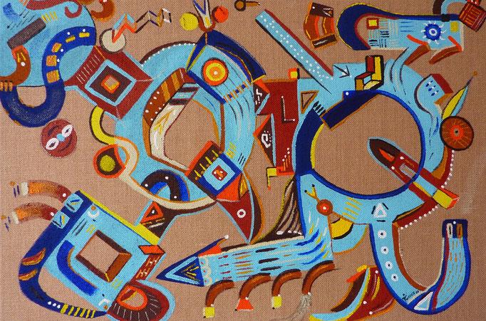 """""""Yolotzin en Azul"""" Petit cœur en bleu, en langue Nahuatl 50x70 cm, acrylique sur jute. 2016"""