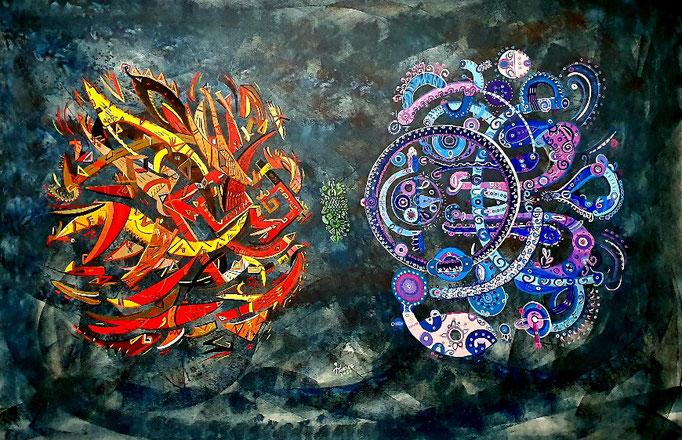 Sol y Luna XXVII, 113x164 cm, acrylique sur toile, 2020.