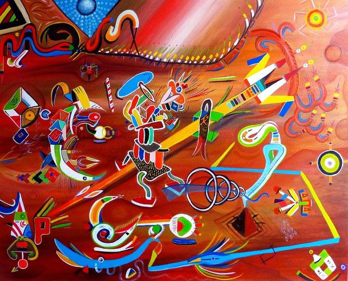 Tepoztlán 100 x 81 cm Acrylique et huile sur lin. 2014