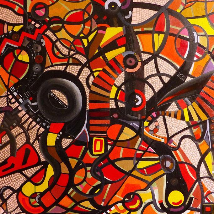 """""""El Ojo de Vidrio"""", (Porfirio Cadena) 80x80 cm, 2012. Oleo y acrílico sobre tela. (Collection Privée, Versailles)"""