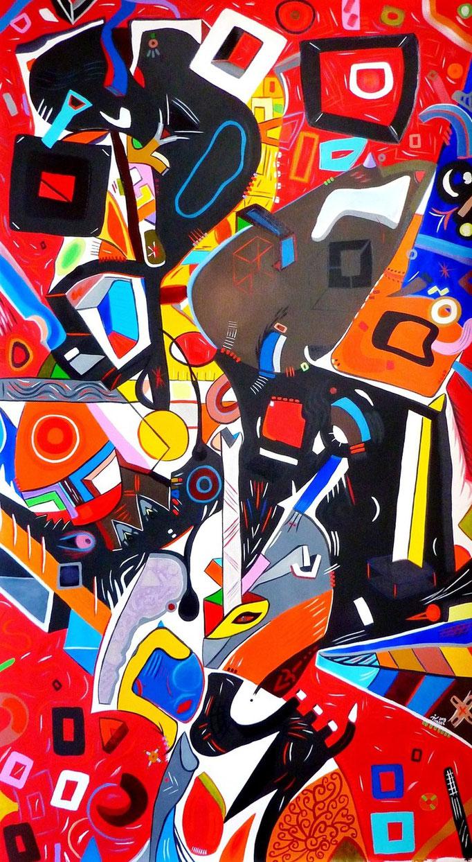 """""""Nisus"""" 150x80 cm Acrylique et huile sur toile. 2014."""