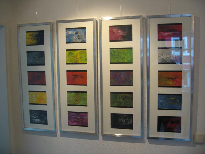 """""""Querschnitte"""" - Acryl auf Leinwand - 8 Sammlungen á 5 Bilder 17 x 12 - 2008"""