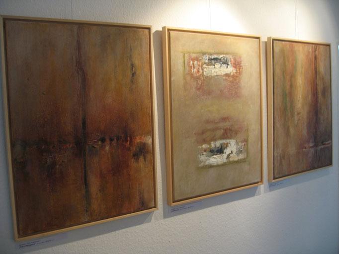 """Schichtungen"" - Acryl, diverse Materialien auf Leinwand - 5 Stück, 60 x 80 - 2009"