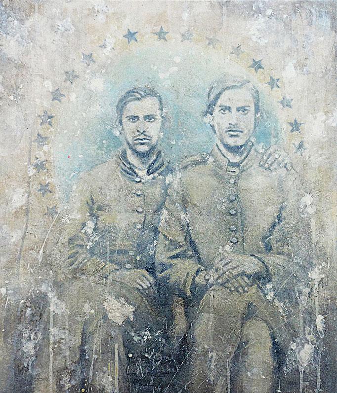 BLOOD BROTHERS - acrylique et huile sur toile - 46x55 cm