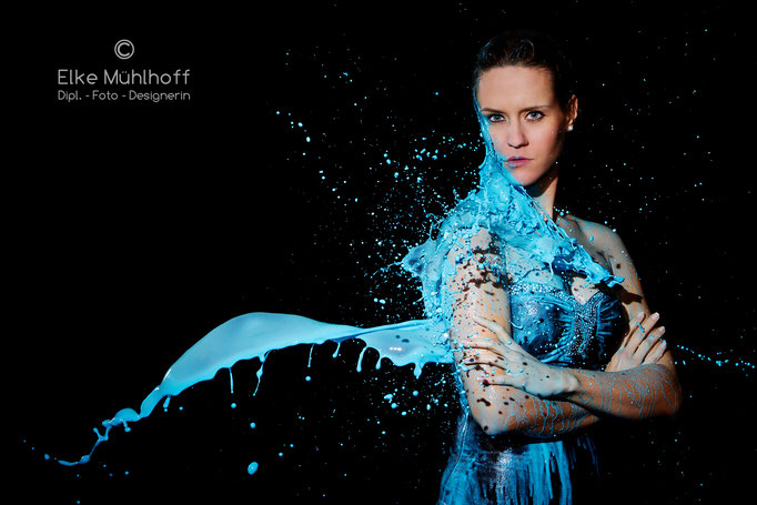 Beauty Portrait Farb Splash Aktion