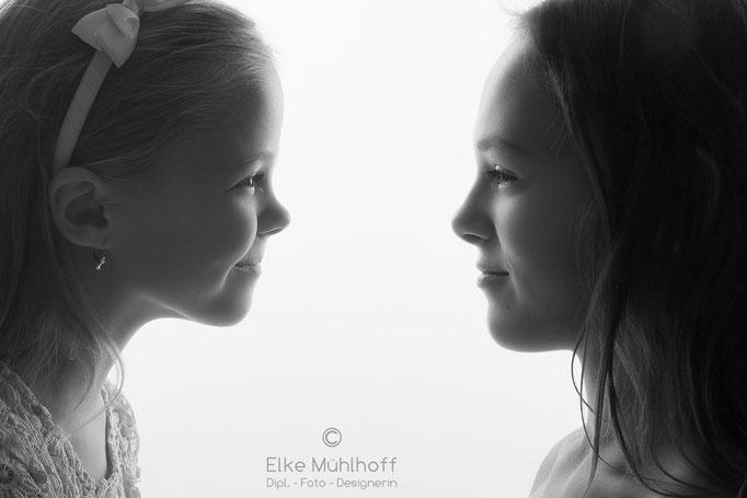 Portrait Kids Kinder Schwarzweiß Silhouette