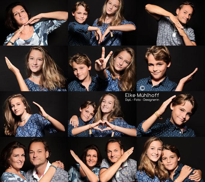 Familienfoto Portrait Mix Herz Montage