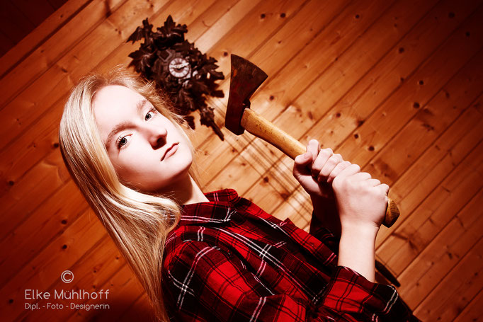 Fotografie Portrait mit Axt