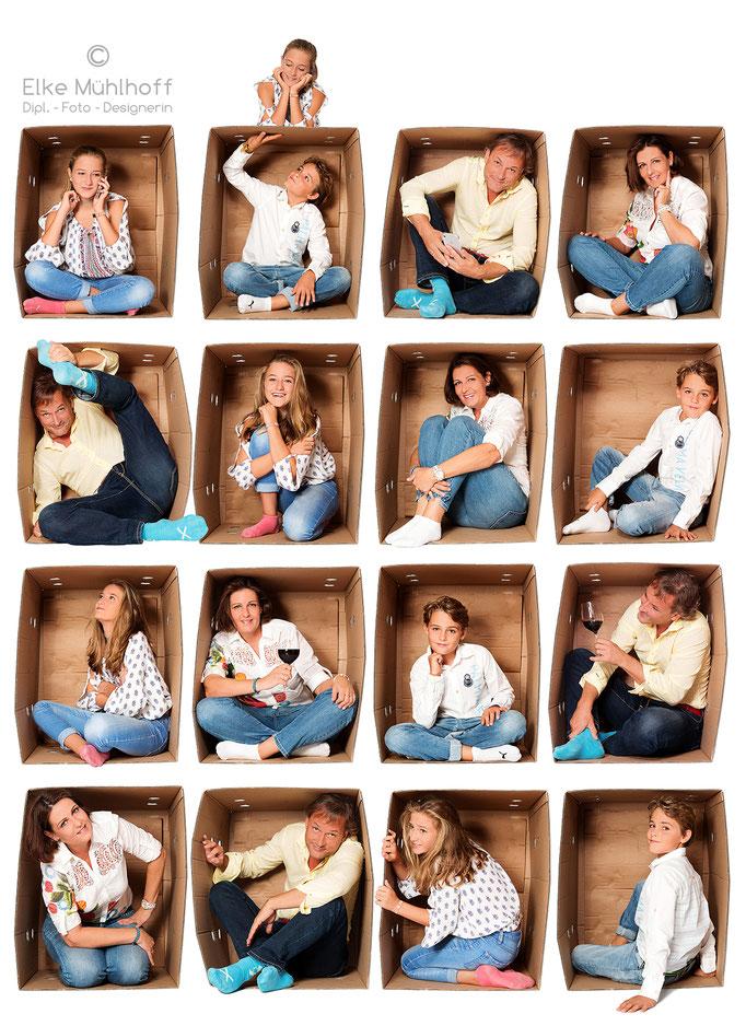 Familienfoto Portrait Mix In the box Montage