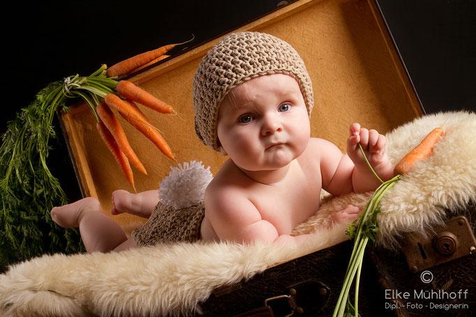 Baby Hasenkostüm im Koffer mit Möhrchen
