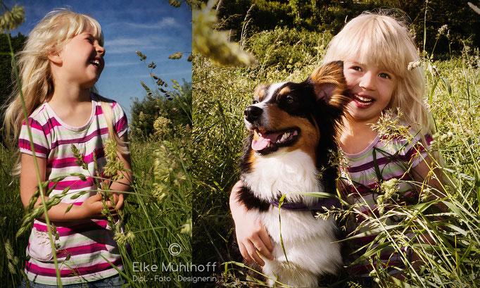 Mädchen und Hund in Wiese Sommer Outdoor Portrait