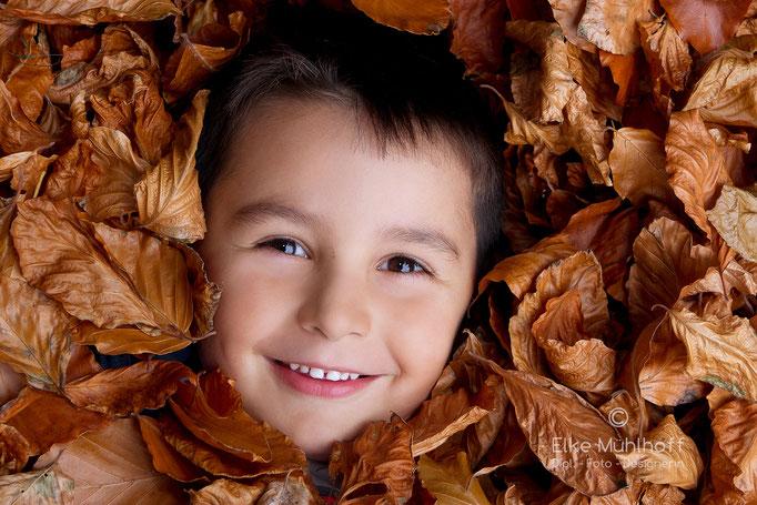 Foto Portrait Junge Kid im Blätterhaufen