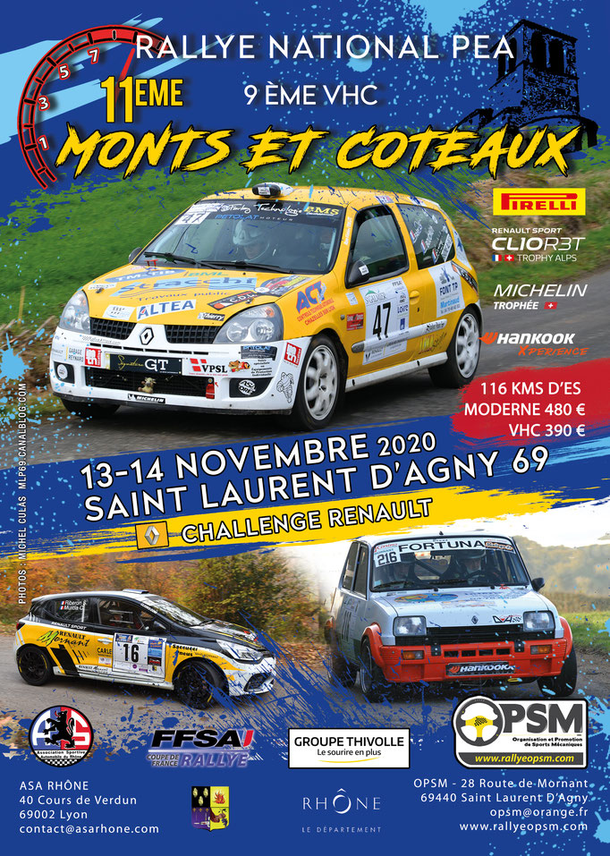 11ème rallye monts et coteaux 2020
