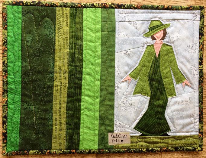 Grüne Frau auf Platzset