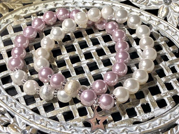 Armbandset aus Muschelkern-Perlen