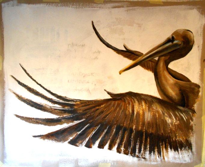 Pelikan, Peru,  Acryl auf Papier, 100 x 120 cm