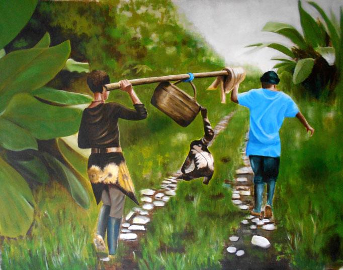 Yaku, Ecuador, Acryl auf Leinwand, 100 x 135 cm