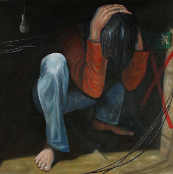 Notausgang, Öl auf Nessel, 140 x 140 cm