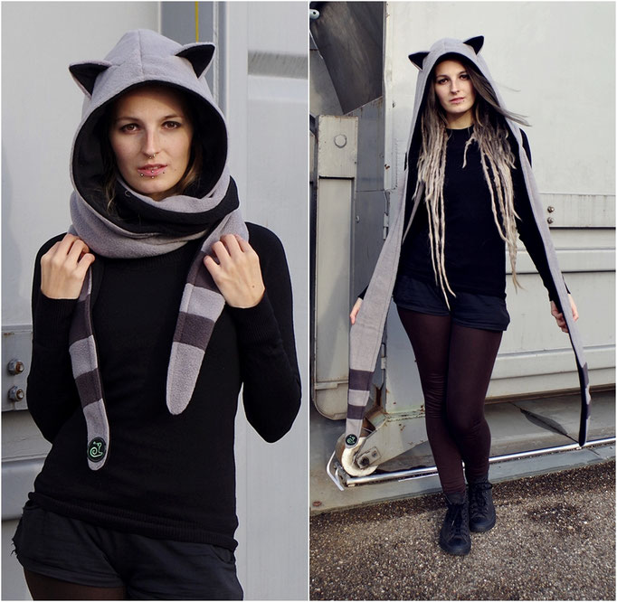 Hooded scarf racoon, Kapuzenschal Waschbär mit Ohren