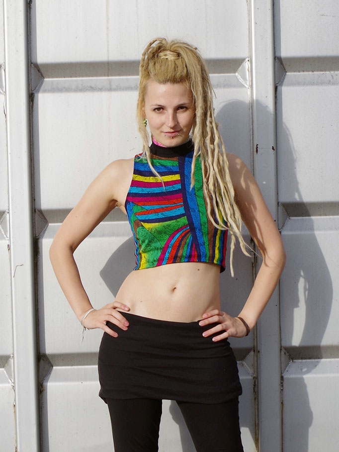 "Crop Top ""Rainbow Blast"" Rave Top"