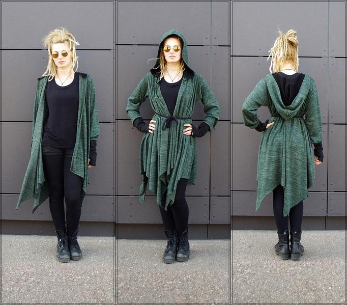 avantgarde Coat, Layered Coat, Zipfelmantel, Forest Pixie