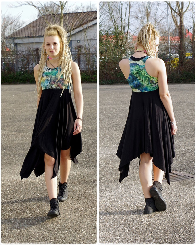Hippie Dress/ langes Zipfelkleid Psytrance