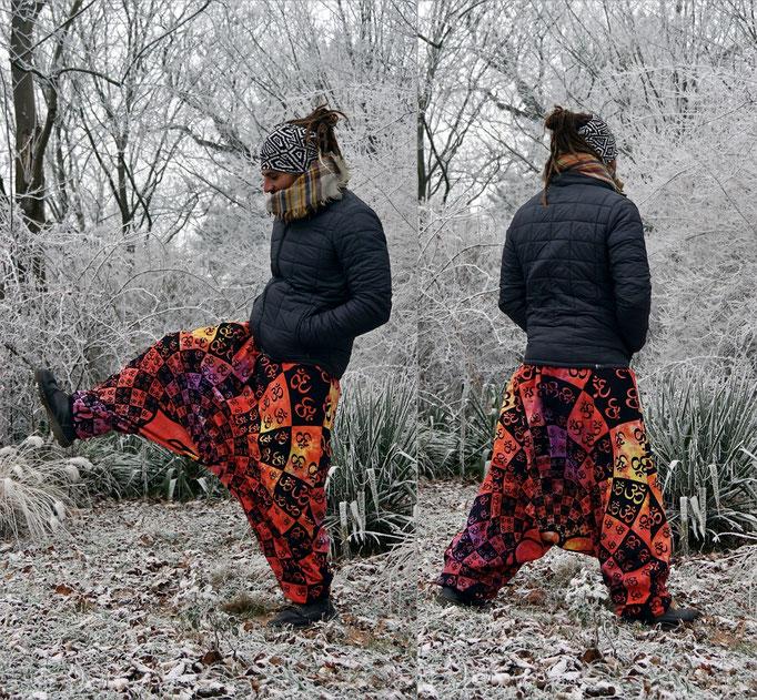 Winter Harempants, Gefütterte Winter-Haremshose Psytrance