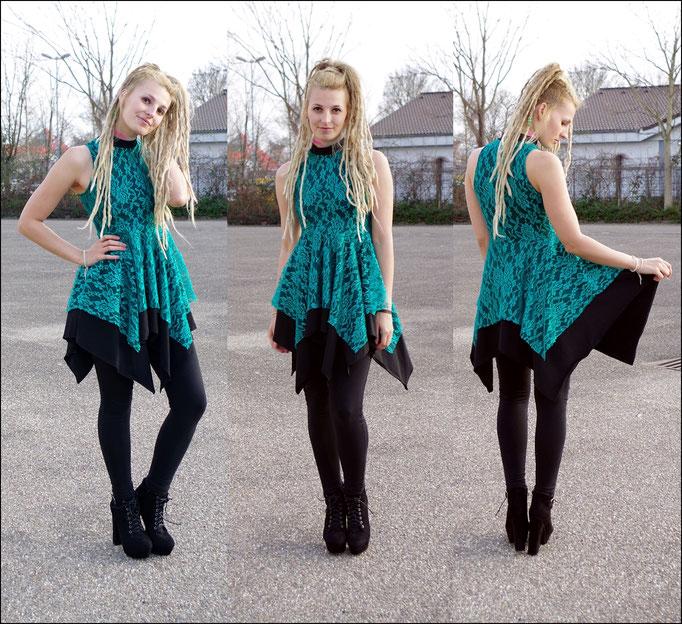 Layered Lace Dress/ Zipfelkleid mit Spitze Psytrance