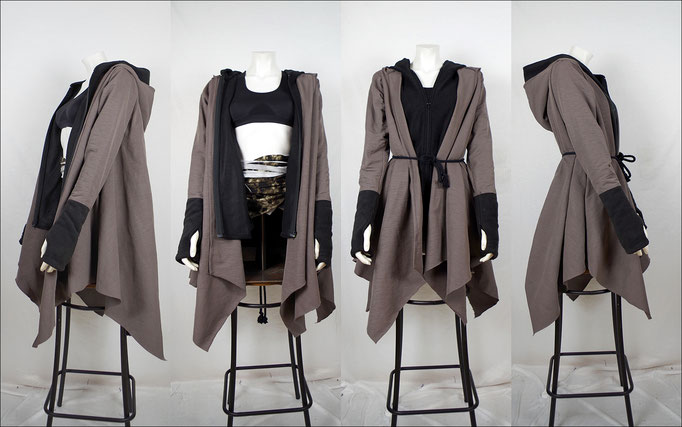 avantgarde Coat, Layered Coat, Zipfelmantel