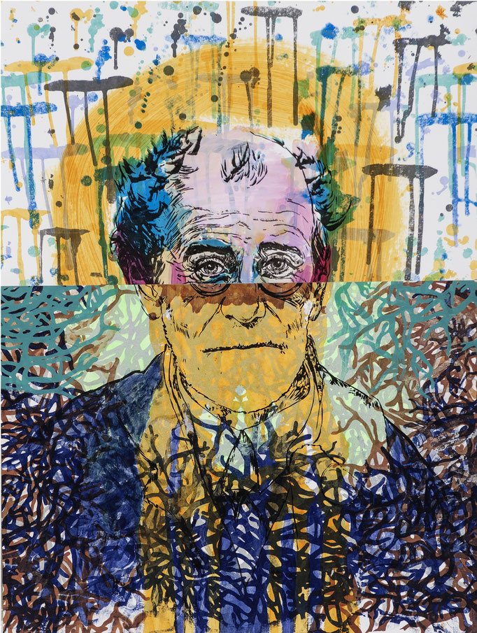 Gustav Freud - collage / acrylic, silk-screen prints / 59,5x78,5cm