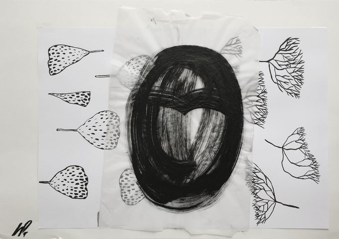 Ink head / collage, ink / 70x50cm
