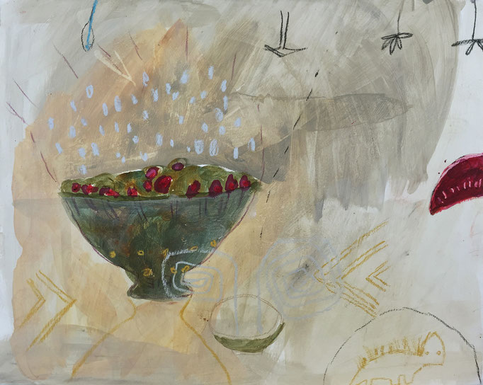 Red seeds 1 /acrylic, ink on paper, 40x50cm, 2005