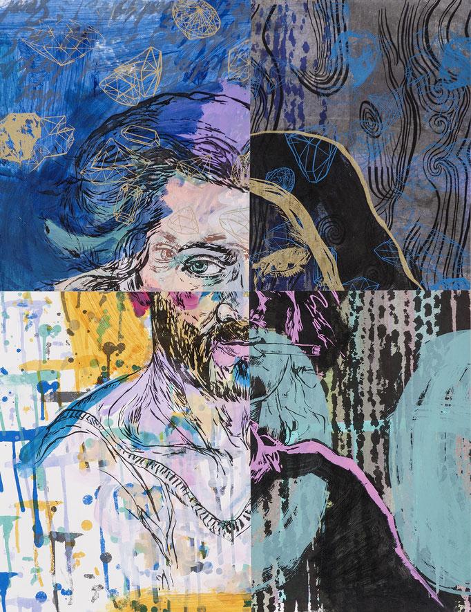 The 4 A - collage / acrylic, silk-screen prints / 62x80cm