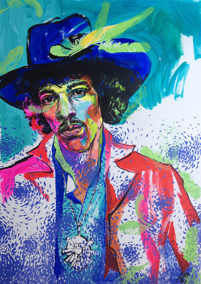 Jimi Hendrix / acrylic, ink on paper / 63x88cm