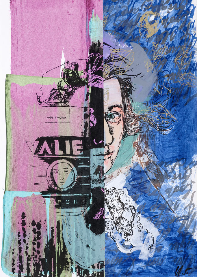 Wolfgang Export - collage / acrylic, silk-screen prints / 55,5x78,5cm