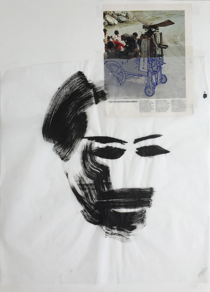 Ink head 1 / collage, ink / 50x70cm