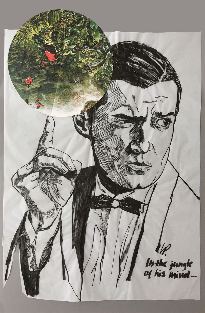 Falco in the jungle of his mind / collage, ink / 50x75cm