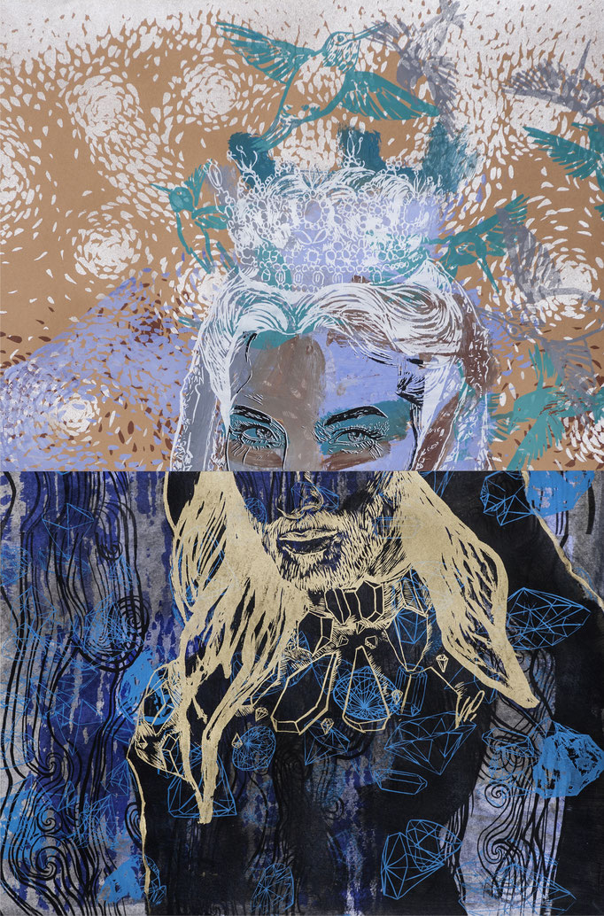 Conchita Schneider - collage / acrylic, silk-screen prints / 59,5x90cm
