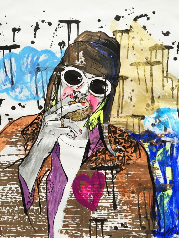Kurt Cobain / acrylic, ink on paper / 63x88cm