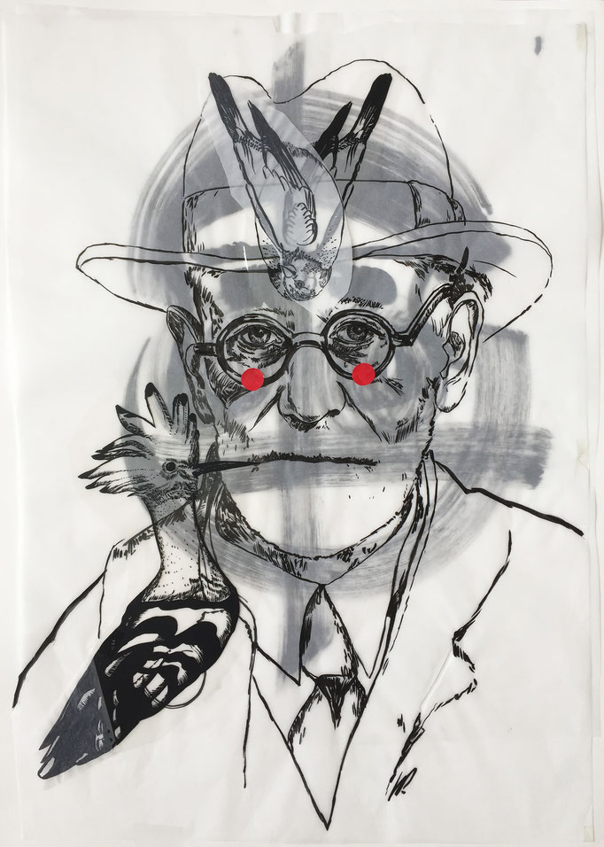 Sigmund Freud, red dots / collage, ink / 50x70cm
